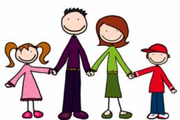 A képen egy négy tagú rajzolt család látható, anyuka, apuka és két gyerek, egymás kezét fogják