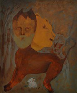 A képen a festő egyik képe látható, melynek címe: ki a hunyó? A képen több rejtet arc fedezhető fel, nem tudni pontosan ki bújt el, ki elől