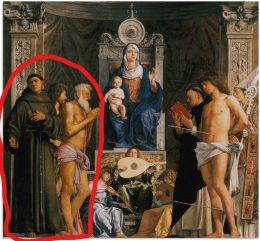 A csatolt képen maga a festmény, rajta bal oldalon pirossal bekeretezve látható a három leírt figura.