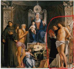 A csatolt képen maga a festmény, rajta jobb oldalon pirossal bekeretezve látható a három leírt figura.