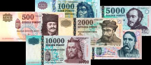 A képen a forint bankjegyei láthatóak