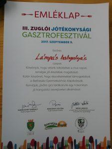 A képen a részvételért kapott oklevél látható