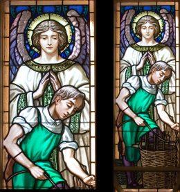 A képen a Vakok Iskolájának üvegablaka látható, mely angyalt és inast ábrázol
