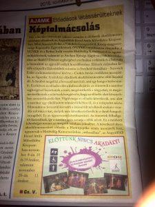 A fotón az újság egyik oldala látható egy újságcikkel, mely az itt leírtakat tartalmazza