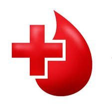 A képen egy vörös kereszt illetve egy csepp vér látható