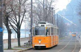 A képen a 19-es villamos látható, amint a Duna menti sétányon halad, nappali fényben, őszi fák között