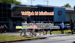 A képen a projekt plakátja látható, a Pillangó utcai metróállomás látható rajta