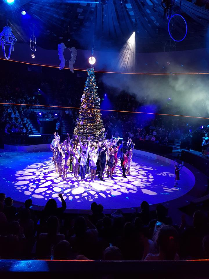 A cirkuszi előadás egy részlete, az összes fellépővel