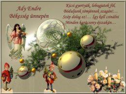 Ady Endre szavai olvashatók egy karácsonyi dísszel a háttérben