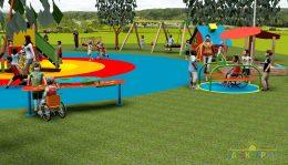 A játszótér modellje közelről, ahol mindenféle gyerek közösen játszik