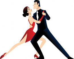 A képen egy elegáns nő és egy elegáns férfi táncol