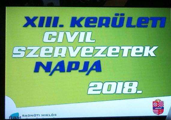 A képen a rendezvény elektronikus plakátja látható, rajta a XIII. kerületi civil szervezetek napja felirat és a 2018-as dátum