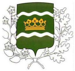 A képen a kerület címere látható, melyen egy korona látható, két patakot jelképező sávval