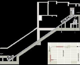A képen egy ferdepályás lift rajza látható