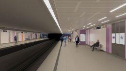 A képen az Újpest-vasútállomás látványterve látható