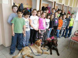 A képen az első iskolai érzékenyítésen megjelent diákok láthatók a két kiképzendő kutyussal