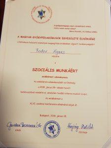 A képen a Fodor Ágnest kitüntető oklevél szövege látható