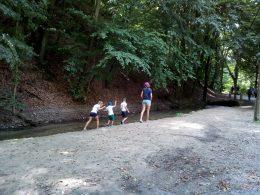 Gyerekek sétálnak a gyorsan áramló patak partján