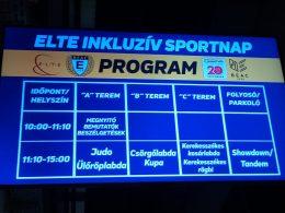 A képen egy digitális plakát hirdeti az ELTE inklúzív sportnapját, melyre kiteleült az újbudai klub