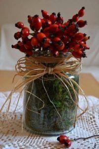 A fotón egy üvegedénybe elhelyezett csokrot látni vörös csipkebogyó terméssekkel