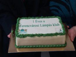 A fotón a születésnapi torta látható: fehér marcipán alapon zöld mintás. Felirata: 1 éves a Ferencvárosi Lámpás Klub.