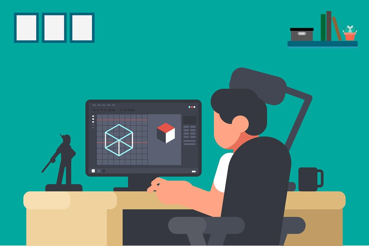 A grafikán egy számítógép monitora előtt dolgozik egy férfi.