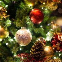 A képen egy karácsonyfa látható.
